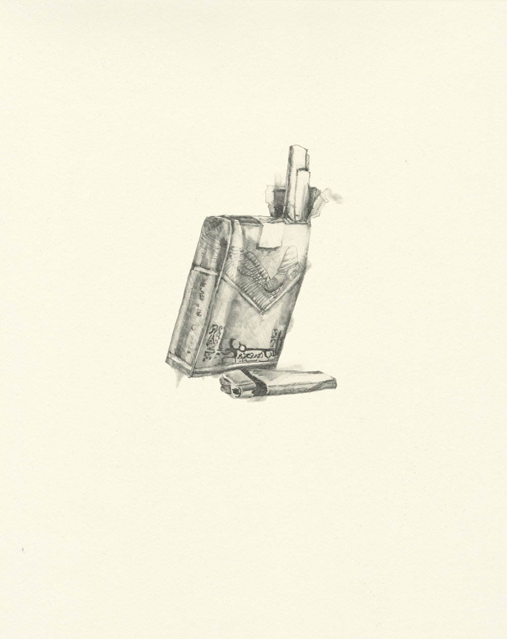 My Boyfriend is a Peacekeeper ix  | graphite on paper | 9.5INx12IN   Excerpt from My Boyfriend is a Peacekeeper Book:  They burn everything here - cigarette pack labels have taken on a more global kind of self consciousness, like memento mori on the scale of  not individual but human tragedy. Death seeps through the stone cracks and embeds itself in pulp and plastic. Nothing is beyond corruptible. This explains my desire to start smoking, and I think that you should too.