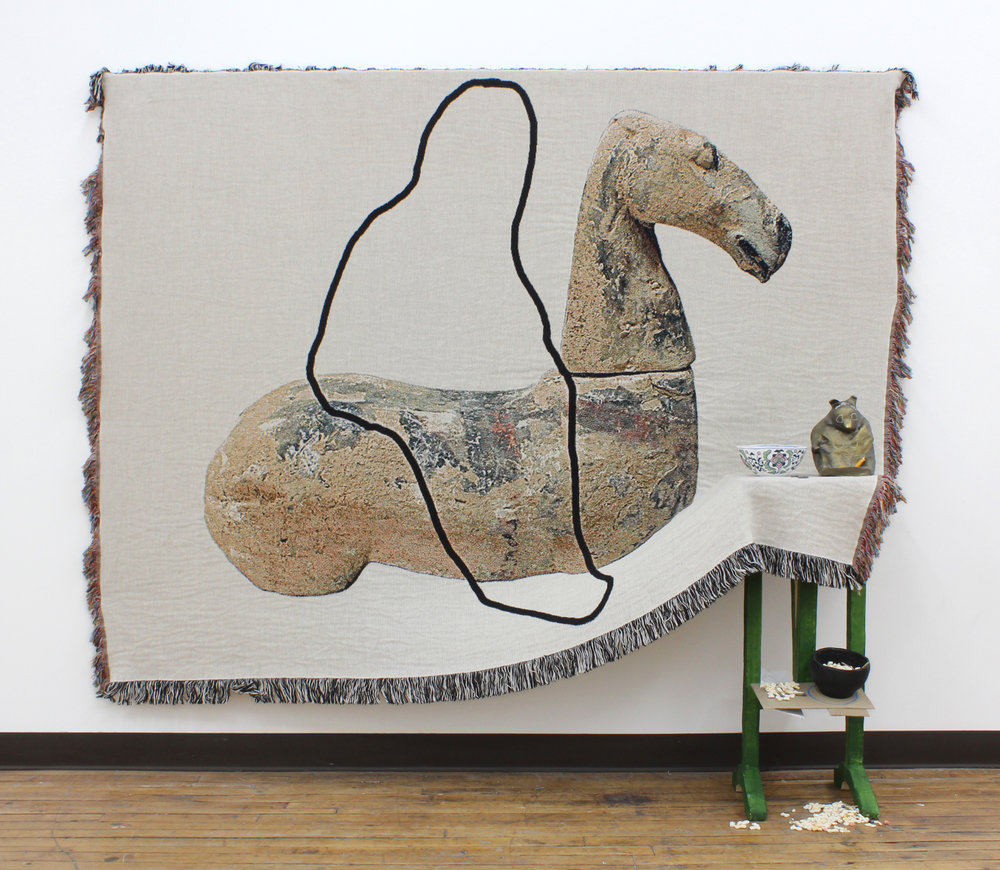 A riderless horse has no legs : installation for SPRING/BREAK Art Show | woven digital tapestry, papier mâché, gouache, acrylic paint, clay | 24INx60INx80IN