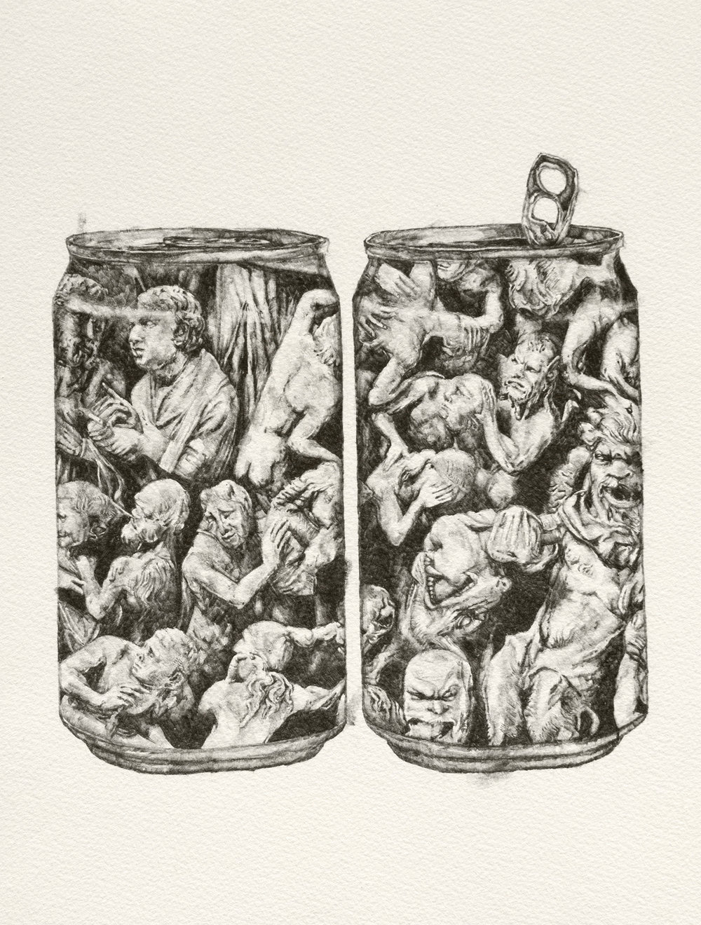 "Still Life with Hell, or, Popcans  | graphite | 11""x15"" 