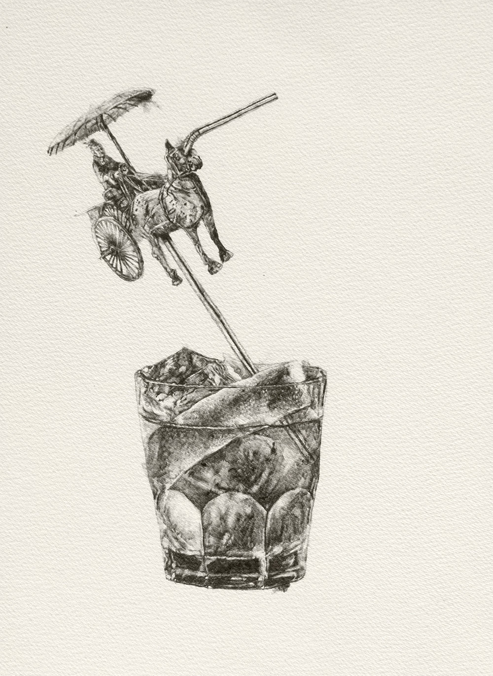 "Still Life with Terracotta Soldier, or, Rum and Coke | 11""x15"" 