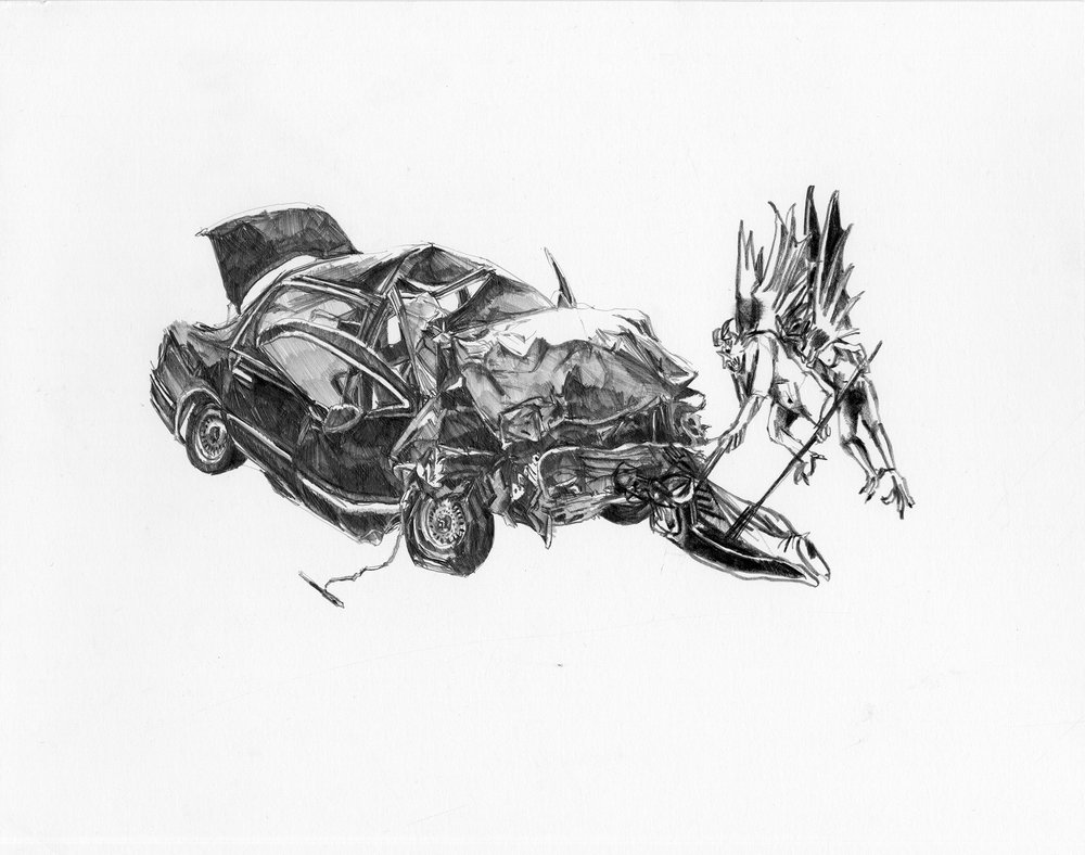 "By the time we saw it it was too late  | graphite, black pencil crayon | 9""x12"" 