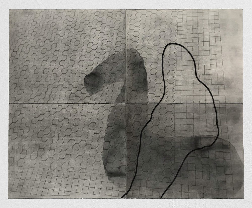 A riderless horse has no legs    graphite on paper   44INx58IN