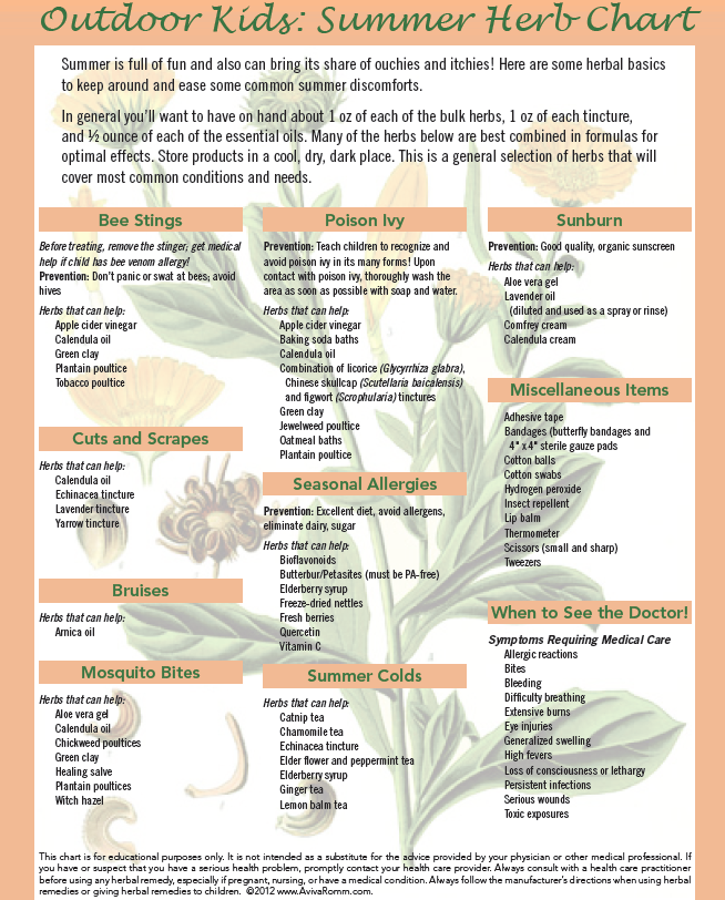 Outdoor Herb Chart