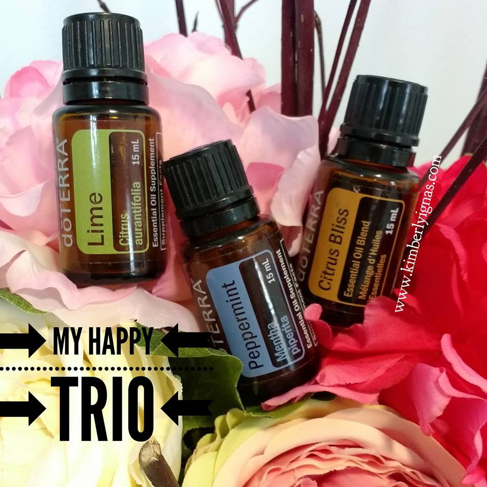 This trio in the diffuser or in a rollerball is my absolute favourite. Citrus oils are uplifting and peppermint helps wake you up and puts a little pep in your step.   Happy Pick me up  5 citrus bliss 5 peppermint 5 lime  Apply to your pulse point and/or the back of your neck.