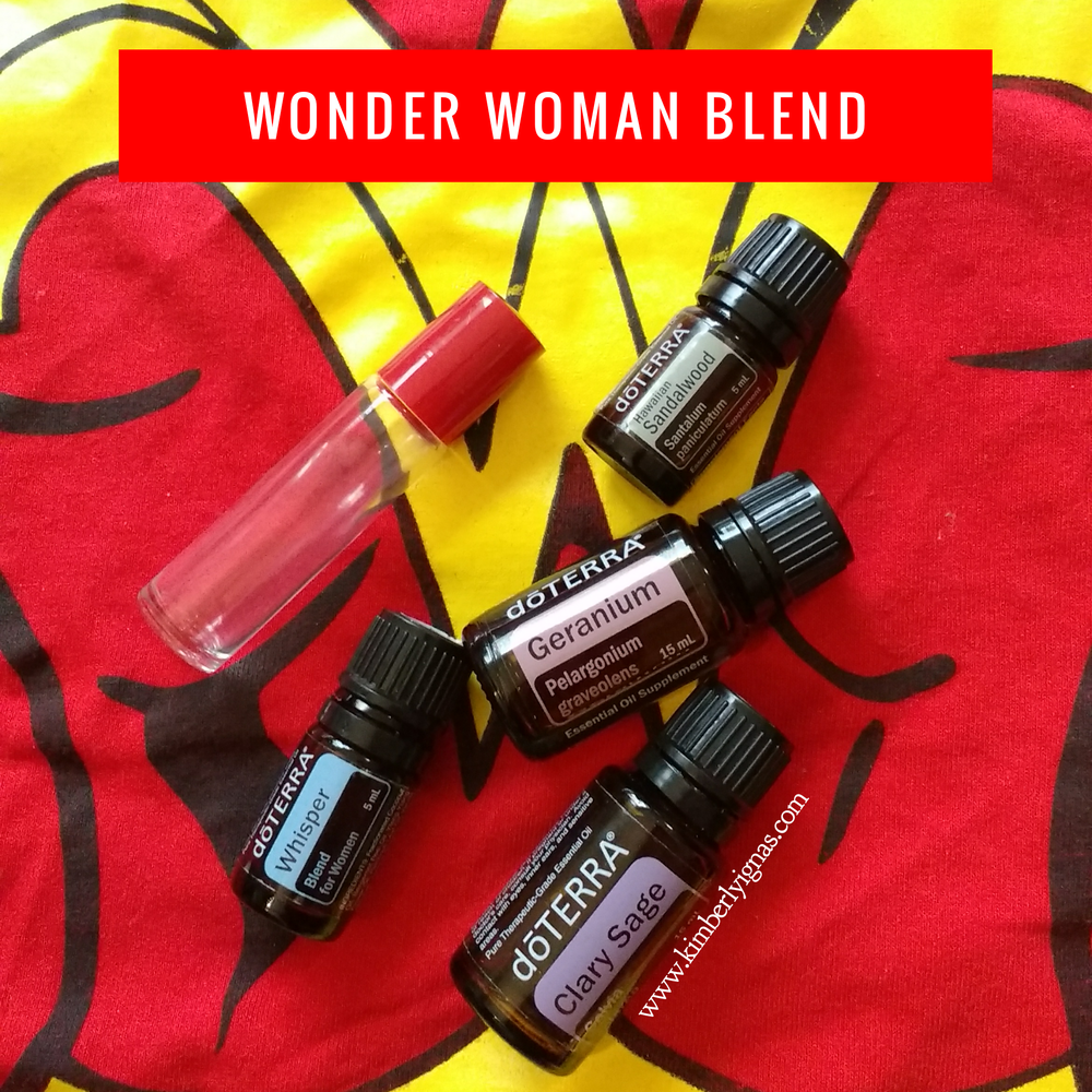 This blend for us women who need:  *help soothing monthly discomfort *balancing hormones *soothing tension *lightening dark moods *help finding their inner calm *want to smell like one powerful babe   Wonder Woman  4 Clary Sage 4 Geranium 8 Whisper Blend 8 Sandalwood  Apply to pulse points, around your heart centre or on your wrists 3-8x per day as needed.