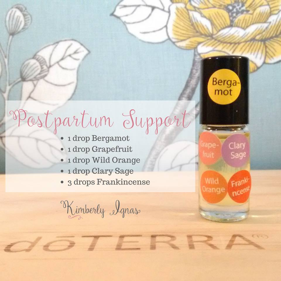 I made this amazing blend for a mama that is about to start her journey with essential oils. Postpartum Depression is a very really thing and I'm sure I had it after my 1st son.  Support from essential oils can very much help but also support from family and friends, nourishing foods, sleep... or little naps when you can alll can help. DHA is super important as well after birth you are the lowest at that point so picking a good fish oil is a must.  It is just a matter of getting your hormones back in balance and adjusted to breastfeeding if you are doing that, dealing with the fact you have a tiny human to take care of (I cried everyday for a month straight) and letting your body recover.  I have a huge passion in helping mama bears in this area so much I wrote an  ebook  about it. It takes time but there are amazing tools and support to help. I'm here for ya mama's!!  PLEASE talk to your healthcare provider if you feel you can't get your depression or sadness regulated or you become fearful you may hurt yourself or your baby.  Always  ask for help.     Postpartum Support  1 bergamont 1 clary sage 1 grapefruit 1 wild orange 3 frankincense  Apply to pulse points, around your heart centre and on the bottoms of your feet.