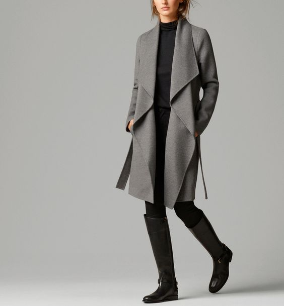 Drape Front Massimo Dutti Gray Woll Coat with Belt.jpg