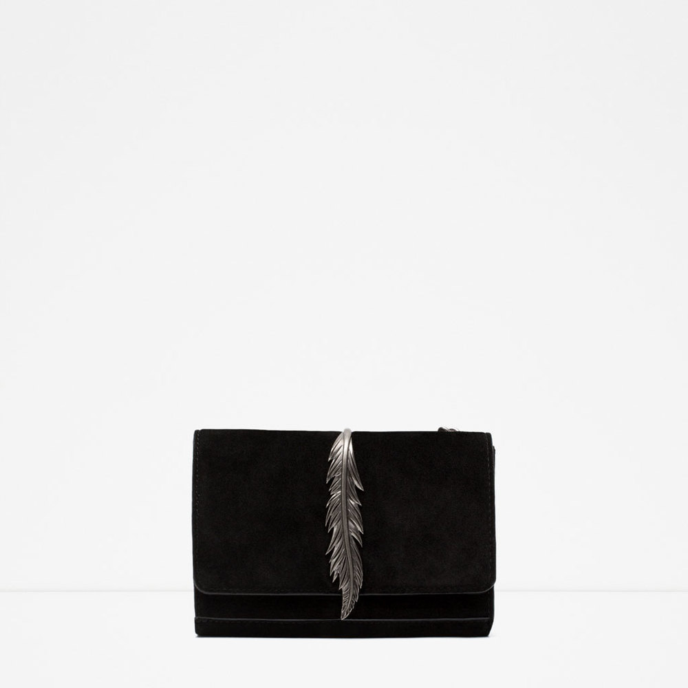 Zara Black Leather Messenger Bag with Metal Detail.jpg