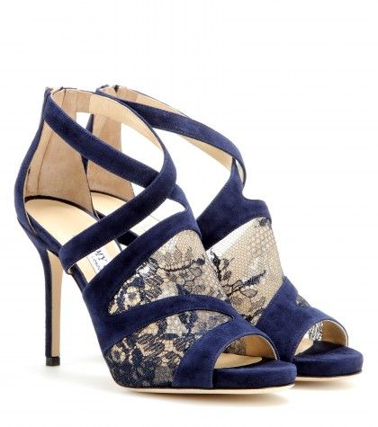 Jimmy Choo Navy suede virion mesh detail open toe pumps.jpg