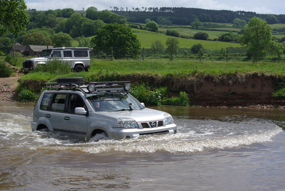 Ford across the River Otter, South Devon in June 2015