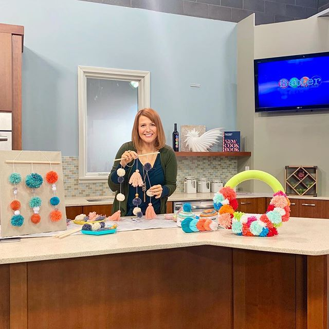 I was back on @kctv5 @better_kansas_city this morning with a DIY pom pom wall hanging tutorial. ✂️ If you're into that sorta thing you can watch the segment by clicking the link in my bio. 😁