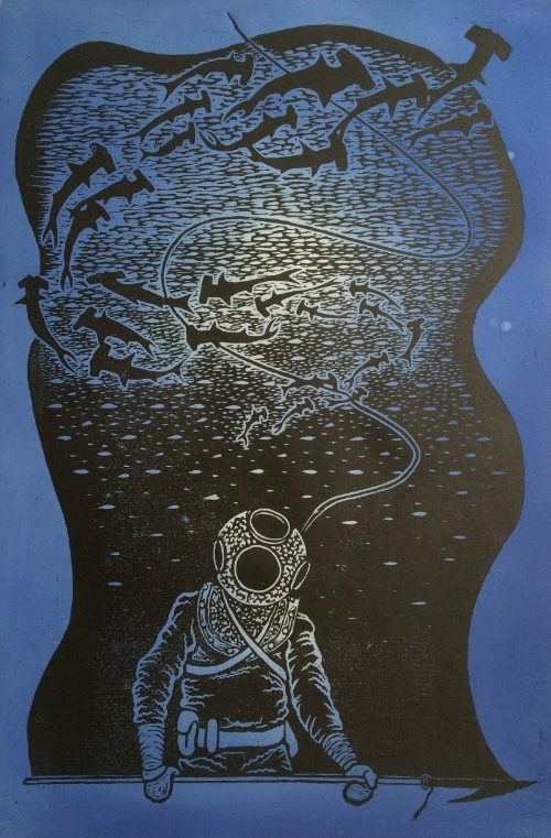Diver II, Woodcut on Dyed Paper