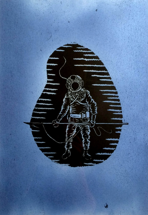 Diver I, Woodcut on Dyed Paper