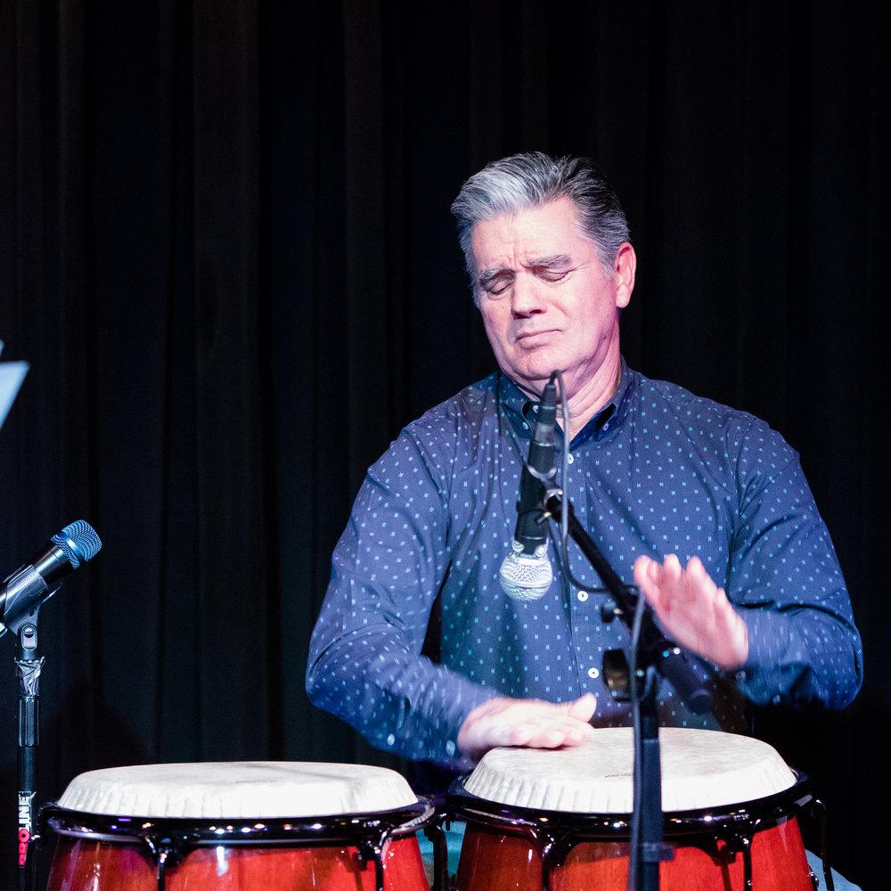 December 15, 2017 - Joe Garcia, percussion, plays in a tribute to Mongo Santamaria at The Nash Jazz Phoenix, Arizona.