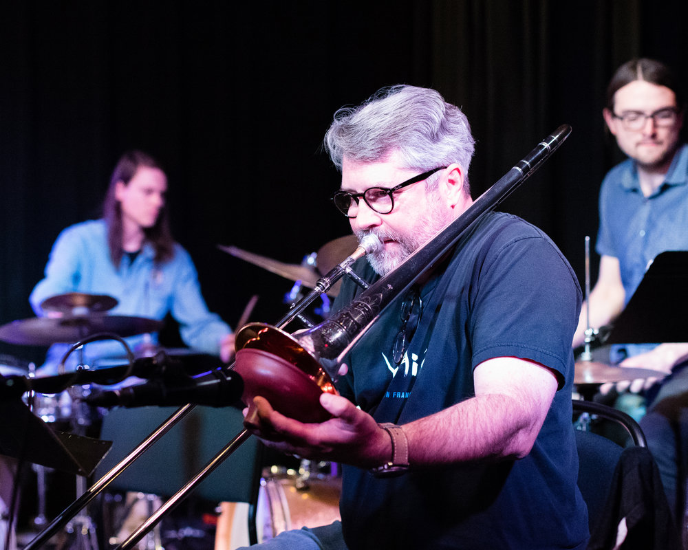 January 26, 2018 Milas Yoes on trombone at The Nash Jazz Phoenix - Joseph Berg Jazz Music Photography.