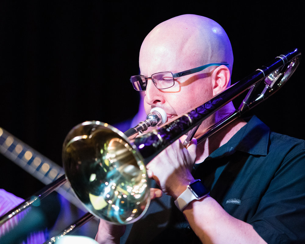 February 7, 2018 Steve McAllister on trombone at The Nash Jazz Phoenix - Joseph Berg Photography