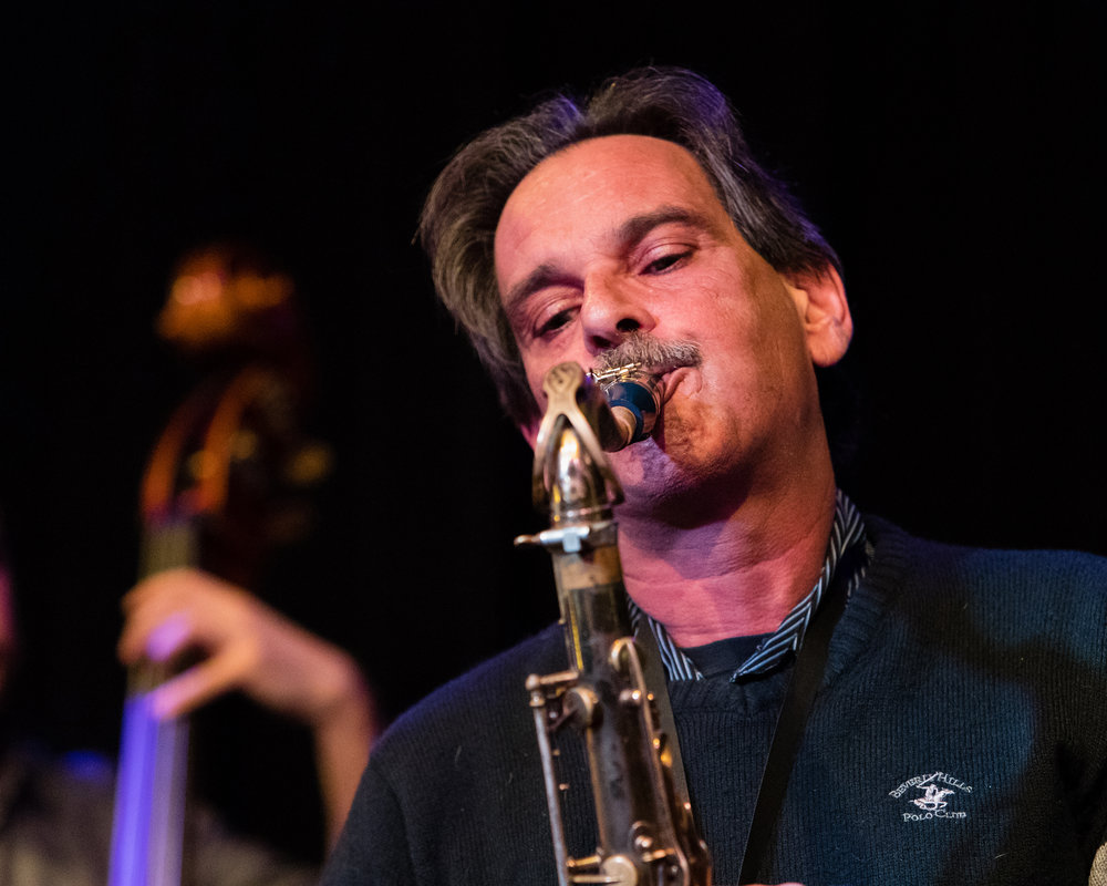 February 28, 2018: Tony Vacca on saxophone during the pro jazz jam session at The Nash.
