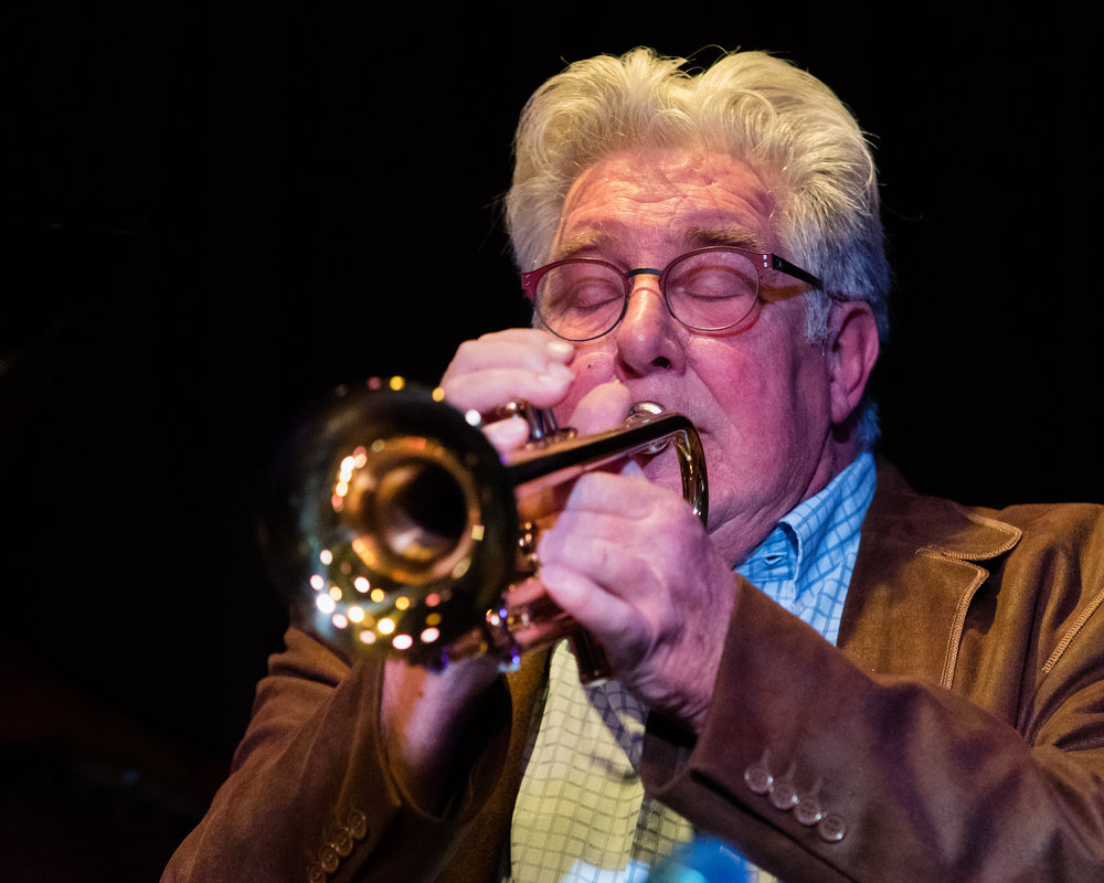 February 28, 2018: Fred Forney on trumpet during the pro jazz jam session at The Nash.
