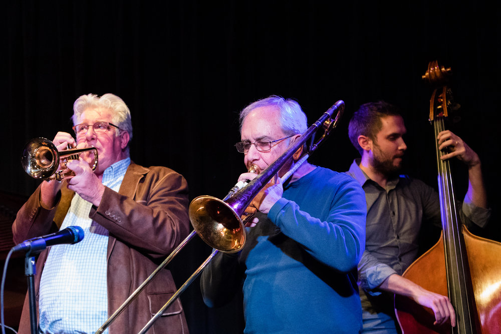 February 28, 2018: Fred Forney, Frank Darmiento and Ben Hedquist during the pro jazz jam session at The Nash.