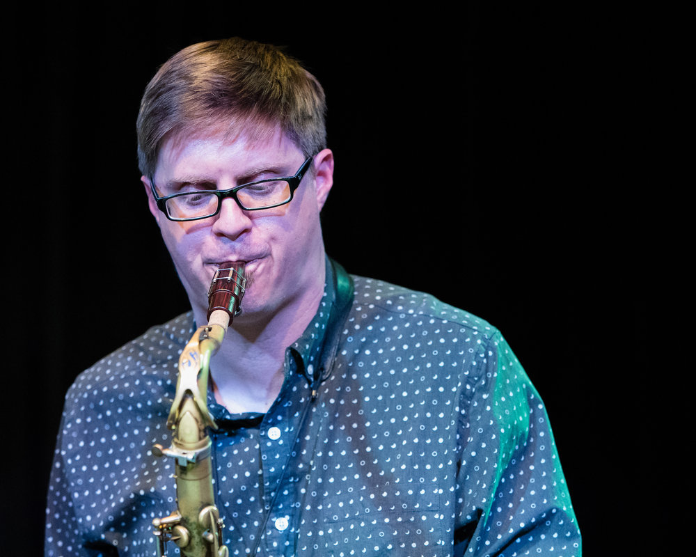 March 9, 2018 - Adam Roberts on on saxophone with Glenn White at The Nash Jazz Phoenix - Joseph Berg Photography