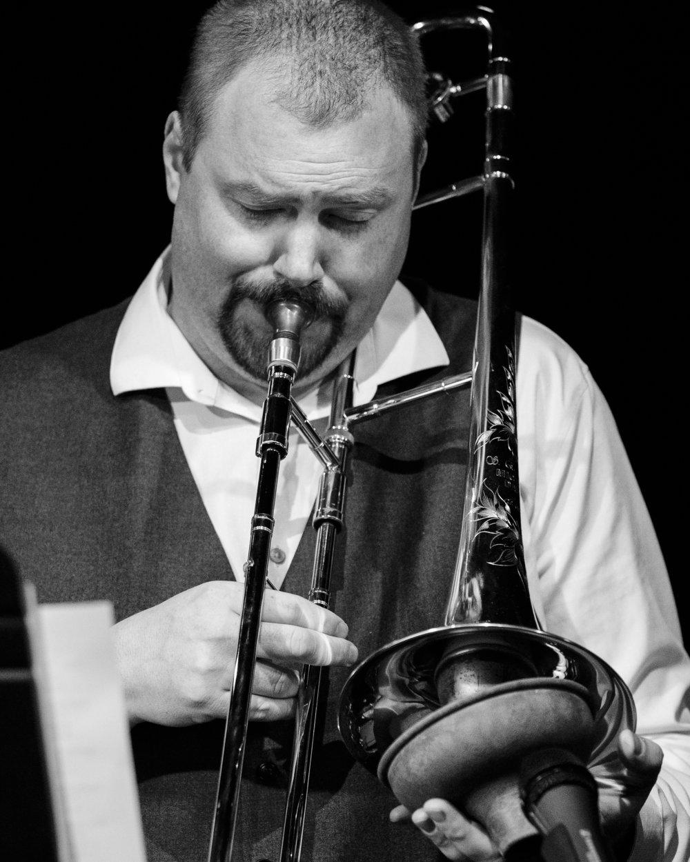 Matt Lennex on the trombone at The Nash Jazz Phoenix - Joseph Berg Photography