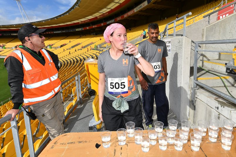 Taking a break at Stadium Climb Wellington
