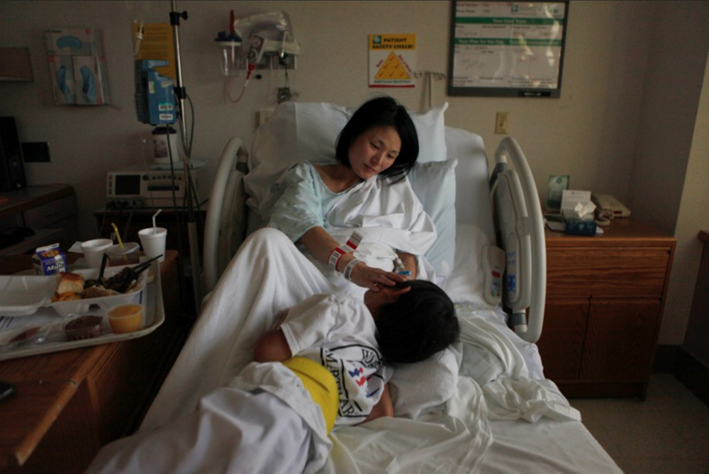 Eun Joo Kim says goodbye to her son, Theodore. She is in the hospital after having her water break at 30 weeks.