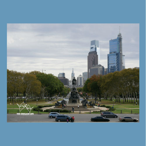 "Looking out into downtown Philadelphia from the famous ""Rocky"" steps."