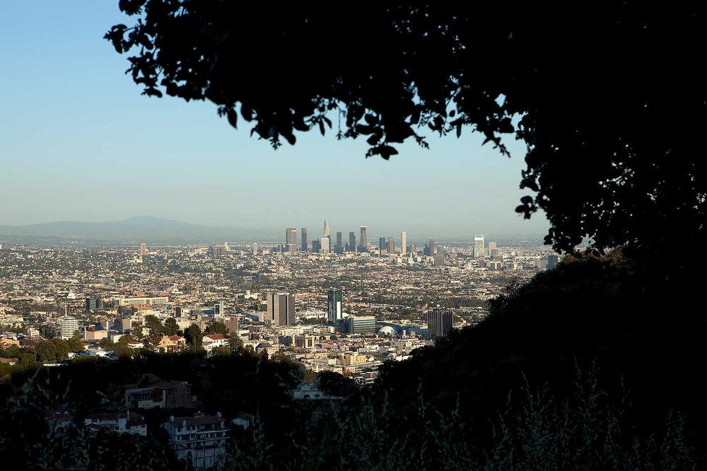 HOLLYWOOD, LOS ANGELES, LE 1er MAI 2011: Vue de Los Angeles avec Hollywood au premier plan et downtown au fond depuis le parc de Runyon Canyon. Le parc est fréquenté par les bobos, propriétaires de chiens et joggeurs branchés d'Hollywood. Runyon Canyon s'élève au dessus de Hollywood et offre une vue panoramique sur la villes, d'est en ouest: du panneau/collines d'Hollywood, l'observatoire de Griffith Park, downtown LA, puis la ville jusqu'à Santa Monica et le Pacifique (photo Gilles Mingasson pour Le Monde2).
