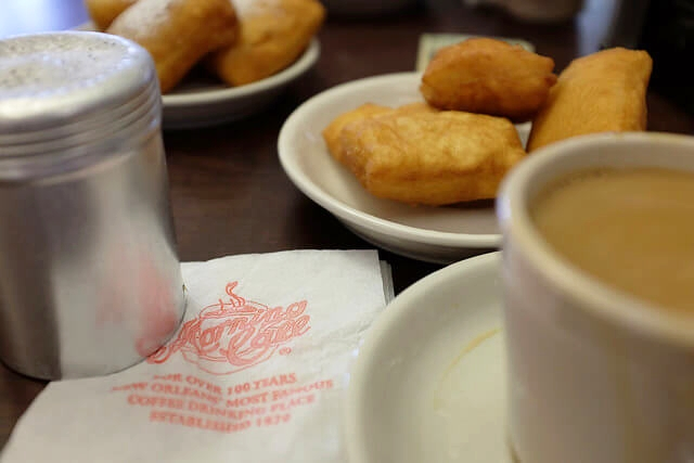 Coffee and beignets at Morning Call in City Park, New Orleans