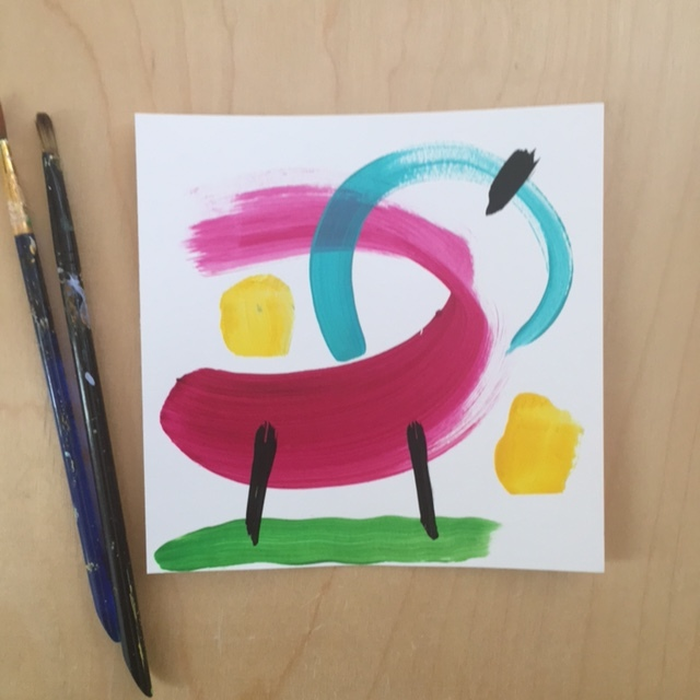 Pink and Bold Abstract Painting