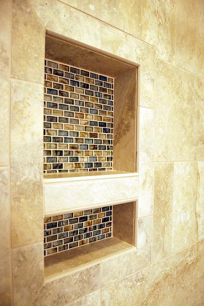 Kapadia Shower Inset Mosaic Tile - Tatiana Hisel Interior Design