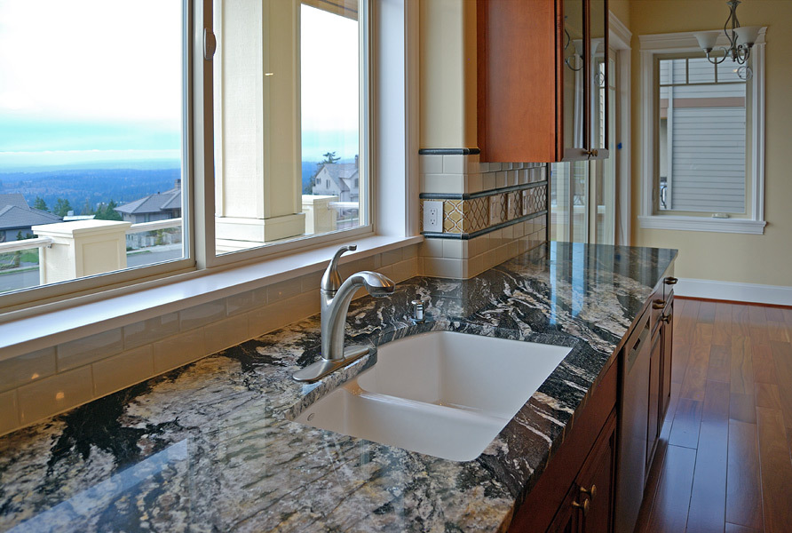 Kapadia Residence Kitchen Tile & Granite Counter - Tatiana Hisel Interior Design