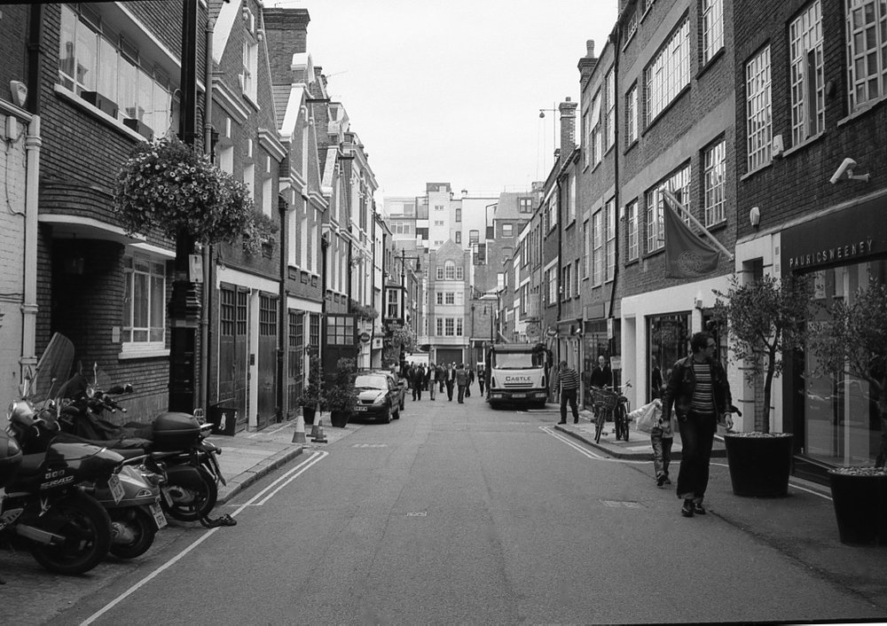 Perspective, Bruton Place, Mayfair, London (Summer 2013)  // Kodak T- Max 100, Olympus Om2n, Epson V330 // Exploring the hidden streets of Mayfair. How can we find new within the old?