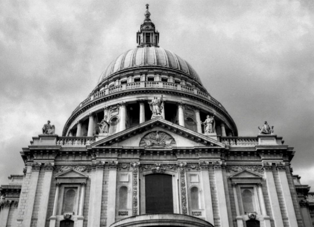Crown of St. Pauls Cathedral, London, England (Spring 2013)  // Kodak T-Max 100, Olympus Om2n, Epson V330 // Built to last. Built so well, its most recent refurbishment cost approximate £40 million.
