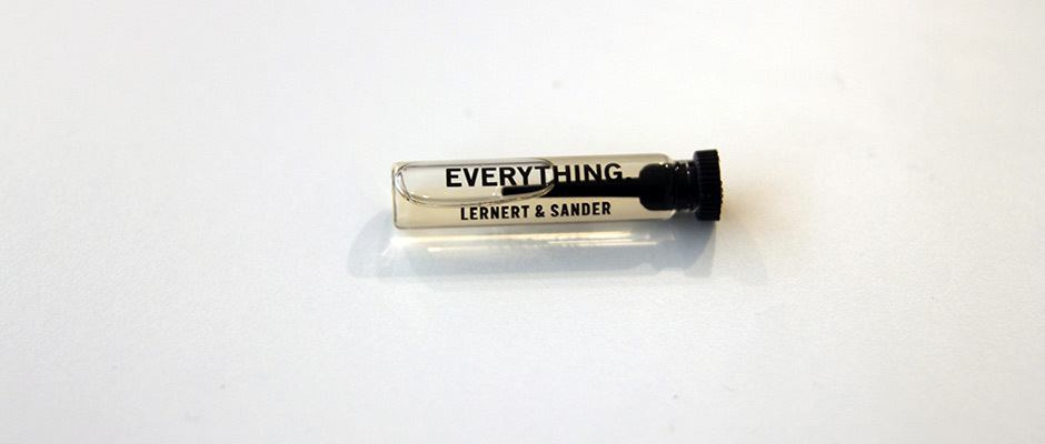 Everything , Lernert & Sander   Everything  is a perfume that produced by Lernert & Sander in 2012 combining all the perfumes produced in that year. If we boiled down experiences that induce feelings of joy and meaning, what would the elixir look like today and into the future?