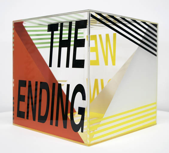 "Clarity ""The Ending"" - acrylic sculpture, art using words"