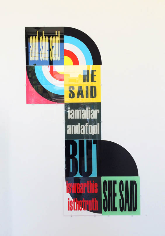"SUM/PARTS ""and she said"" - pop art style installation by acrylic artist Kristin Bauer"