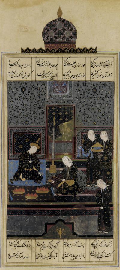 "Depiction of Nezami's ""Bahram and the Indian Princess in the Black Pavilion"" Khamse,Safavid era."