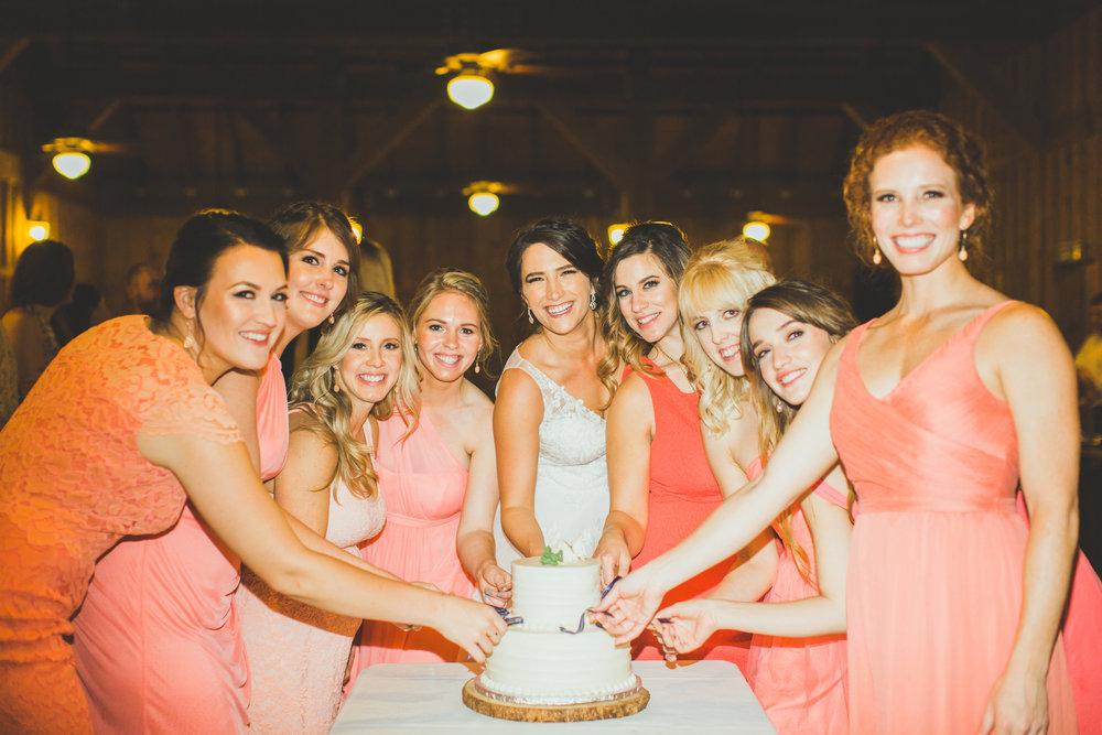 Cake Pulls with Bridesmaids