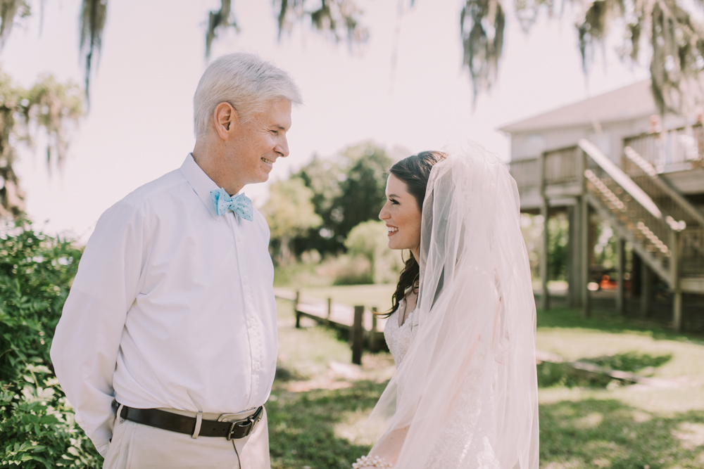 First Look with Dad New Orleans Wedding