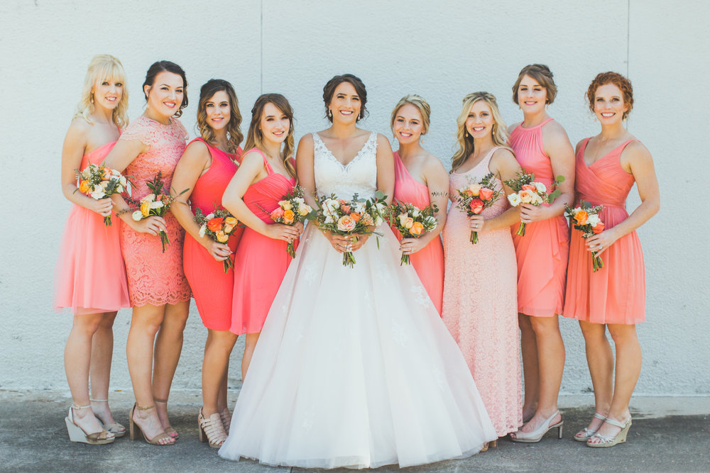 Bride and Bridesmaids Downtown Baton Rouge