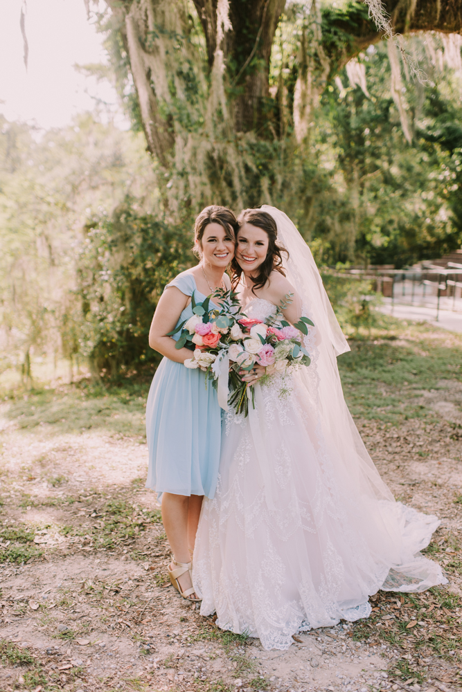 Bride and Bridesmaid at New Orleans Wedding
