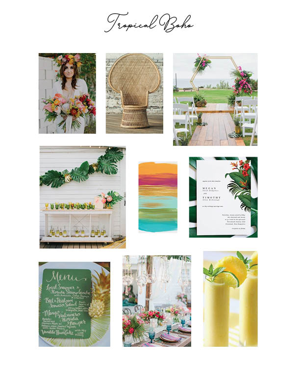 Tropical Boho Mood Board for a Summer Wedding
