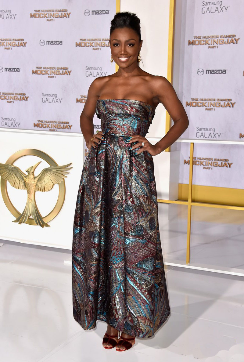 PATINA MILLER in Vintage PAULINE TRIGERE from ALEXANDRA NEW YORK - Red Carpet, HUNGER GAMES: MOCKINGJAY Premiere, 2014