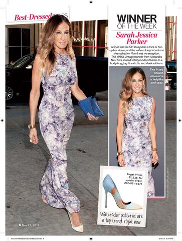 SARAH JESSICA PARKER named BEST DRESSED by LIFE & STYLE Magazine - In Vintage Gown from ALEXANDRA NEW YORK