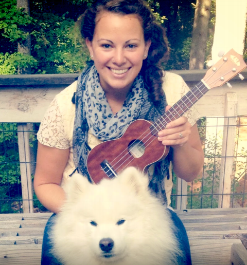 Kalyn Sullivan, the ukulele she is learning to play, and her really fluffy dog.