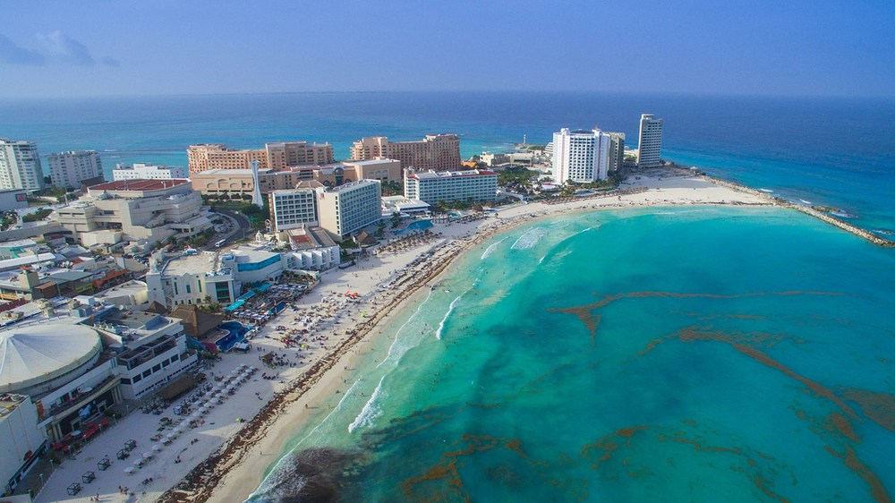 An aerial view of Cancun.  Photo Credit: Flickr/dronepicr