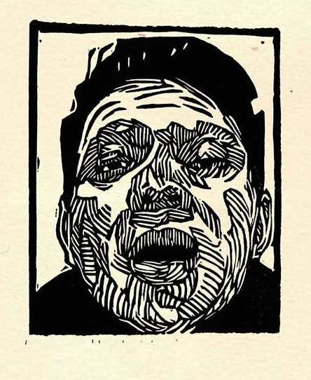 Pavel Acevedo, Self Portrait, Linocut on Paper
