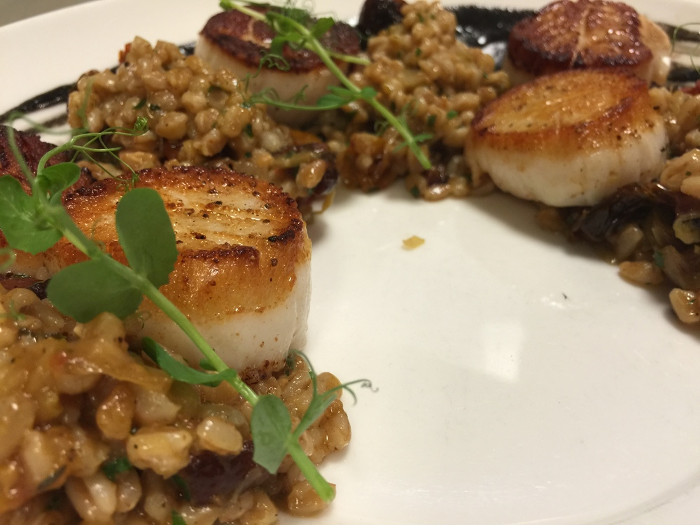 Viking Village Sea Scallops, Black truffle Popcorn